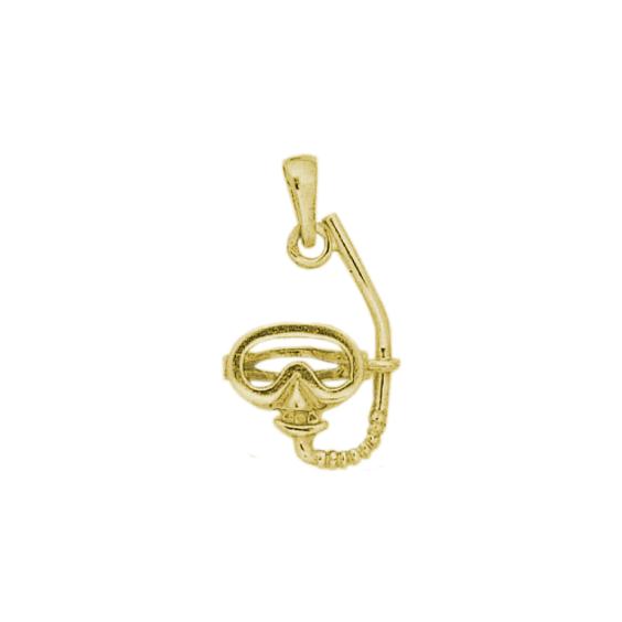 Pendentif masque et tuba de plongée plaqué or - La Petite Française