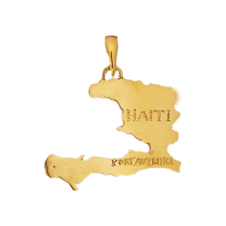 Pendentif carte Haïti plaqué or - La Petite Française