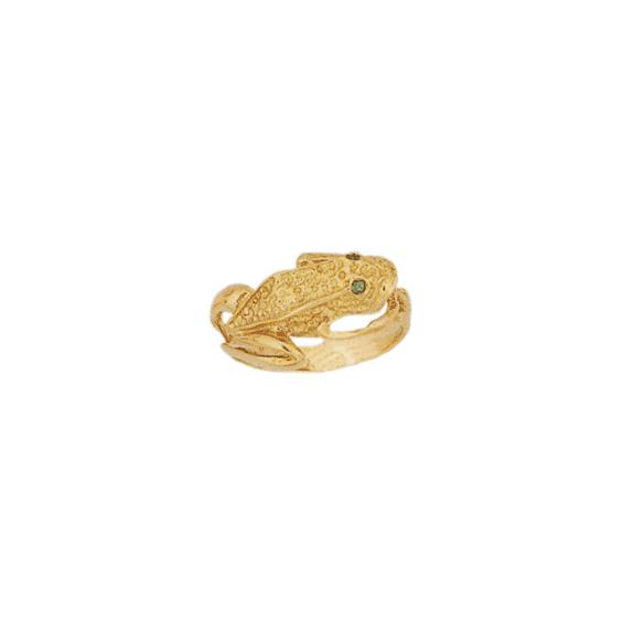Bague grenouille, yeux émeraudes plaqué or - La Petite Française