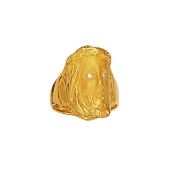 Bague Christ yeux diamant plaqué or - La Petite Française