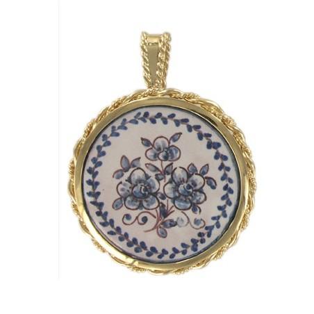 Pendentif azulejos fleurs bleues plaqué or - La Petite Française