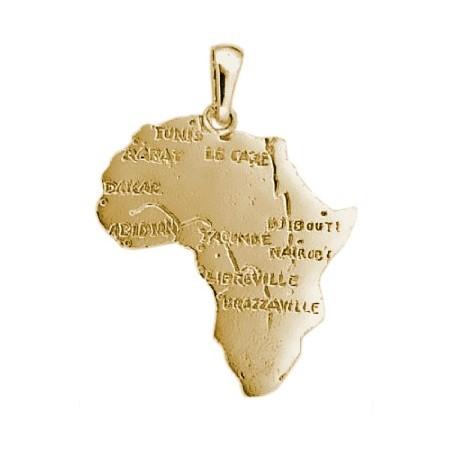 Pendentif carte Afrique plaqué or moyen modèle - La Petite Française
