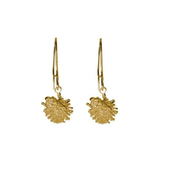 Boucles d'oreilles pendantes hérissons plaqué or - La Petite Française