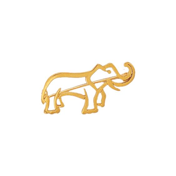 Broche éléphant plaqué or - La Petite Française
