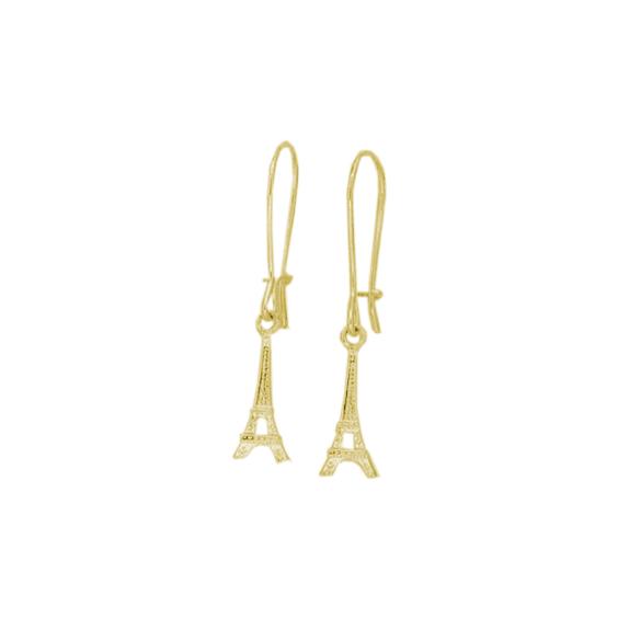 Boucles d'oreilles pendantes tour Eiffel plaqué Or - La Petite Française