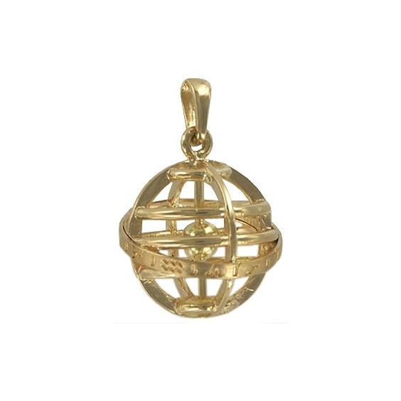 Pendentif sphère armillaire plaqué or - La Petite Française