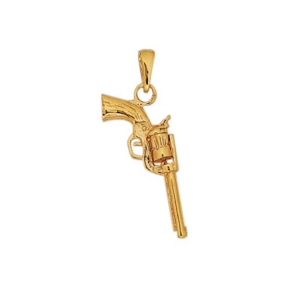 Pendentif revolver plaqué Or - La Petite Française