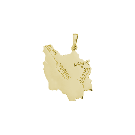 Pendentif carte Bourgogne plaqué or - La Petite Française
