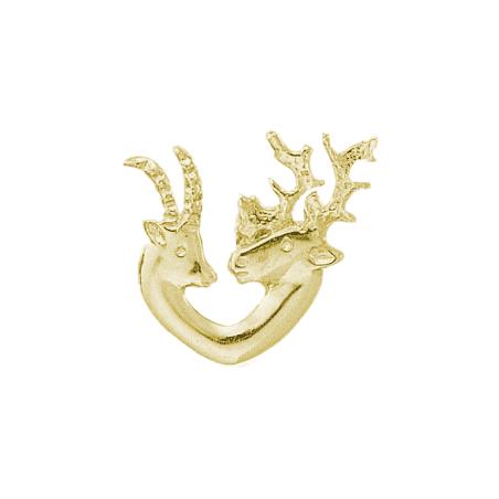 Pendentif têtes de chamois et renne plaqué or - La Petite Française