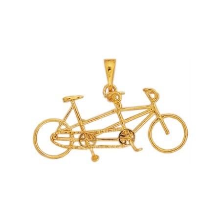 Pendentif vélo tandem plaqué Or - La Petite Française
