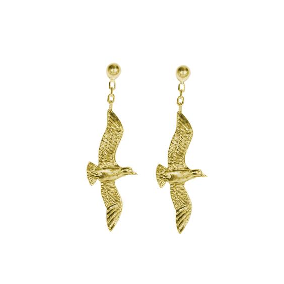 Boucles d'oreilles pendantes mouettes plaqué or - La Petite Française