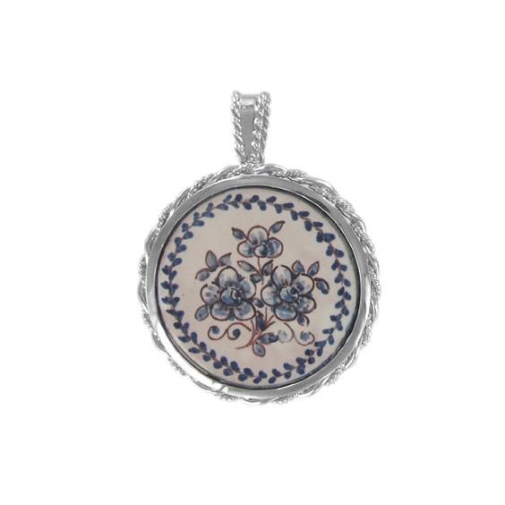 Pendentif azulejos fleurs bleues argent - La Petite Française