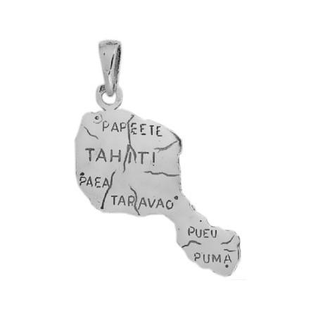 Pendentif carte Tahiti GM argent - La Petite Française