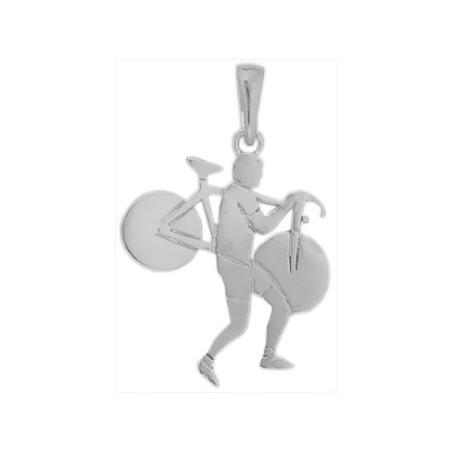 Pendentif cyclo-cross argent - La Petite Française