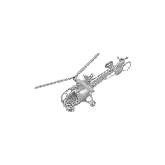 Pendentif hélicoptère Alouette III argent - La Petite Française