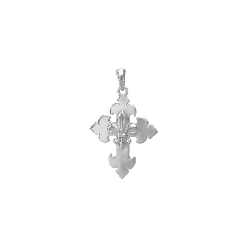 Croix fleur de Lys argent - 29 MM - La Petite Française