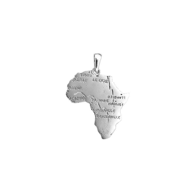 Pendentif carte Afrique argent moyen modèle - La Petite Française