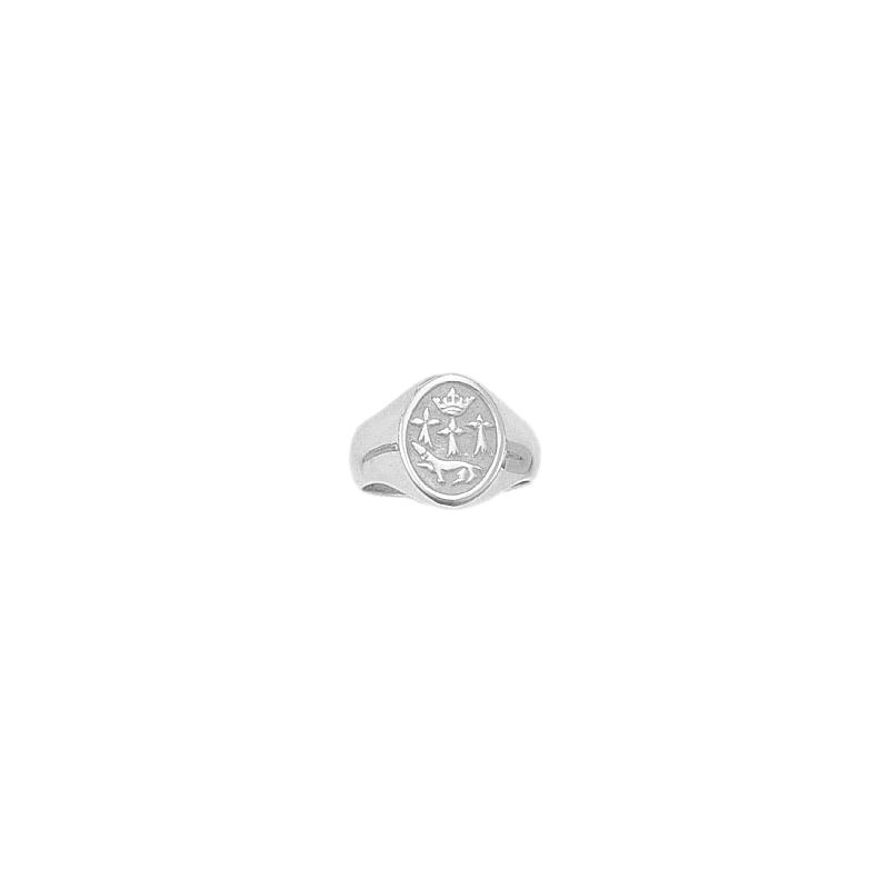 Chevalière hermine argent - 19 X 11 MM - La Petite Française