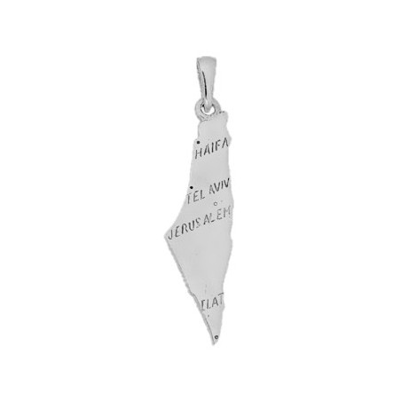 Pendentif carte Israel argent - La Petite Française