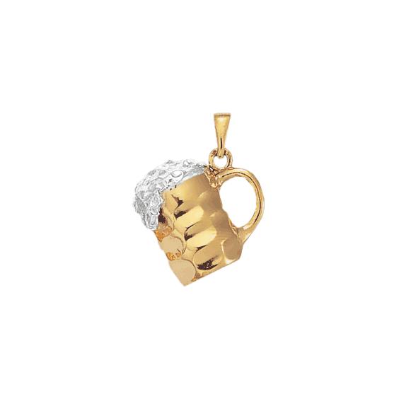 Pendentif chope de bière argent et bronze - La Petite Française