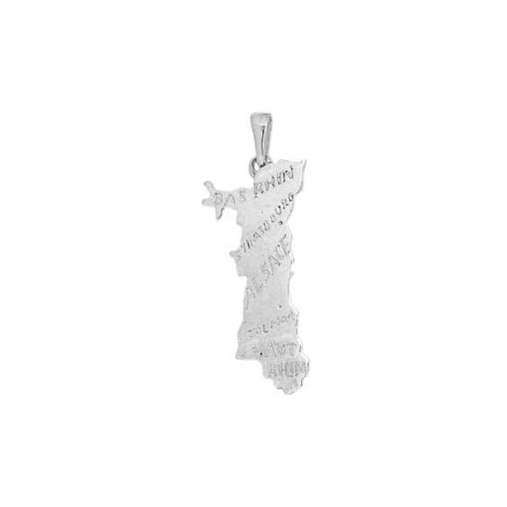 Pendentif carte Alsace Argent - La Petite Française
