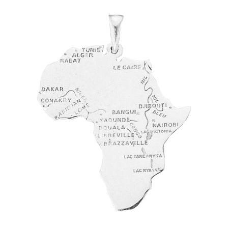 Pendentif carte Afrique argent grand modèle - La Petite Française