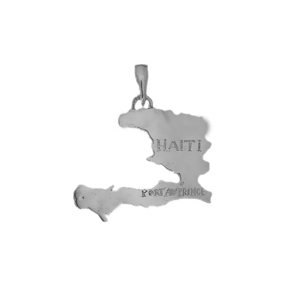 Pendentif carte Haïti argent - La Petite Française