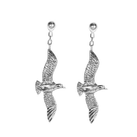 Boucles d'oreilles pendantes mouettes argent - La Petite Française