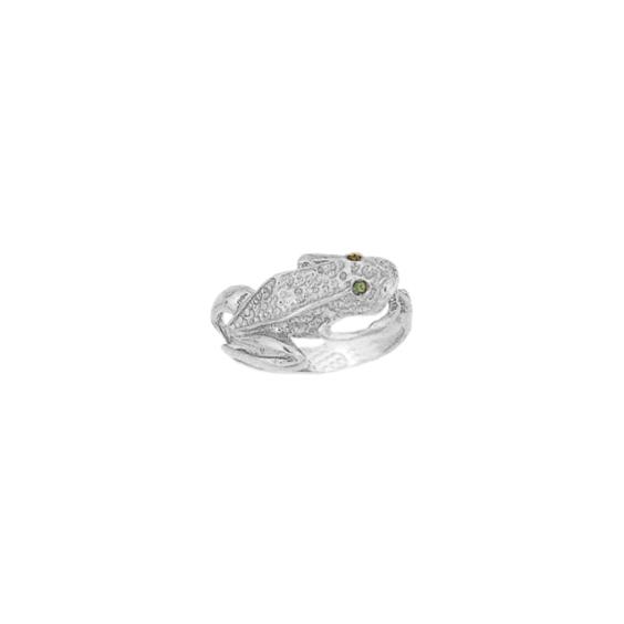 Bague grenouille, yeux émeraudes argent - La Petite Française