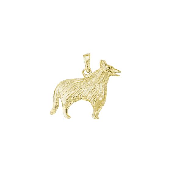 Pendentif chien Colley Or 9 carats jaune - 25 MM - La Petite Française