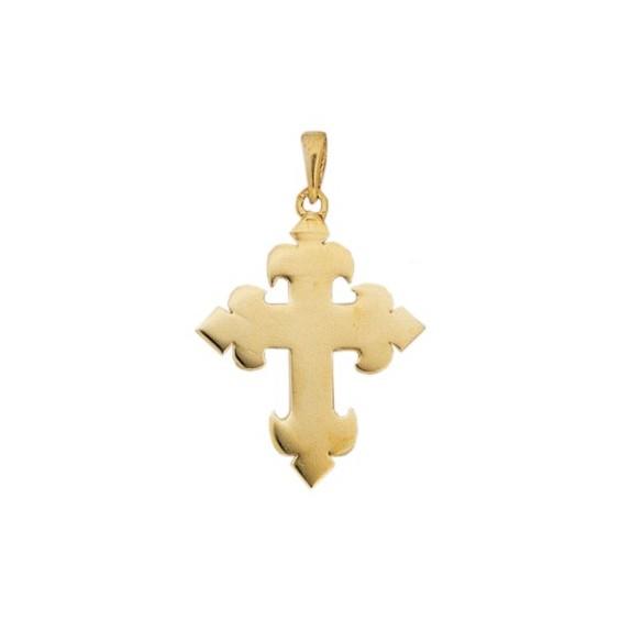 Croix fleur de Lys Or 9 carats jaune - 30 MM - La Petite Française