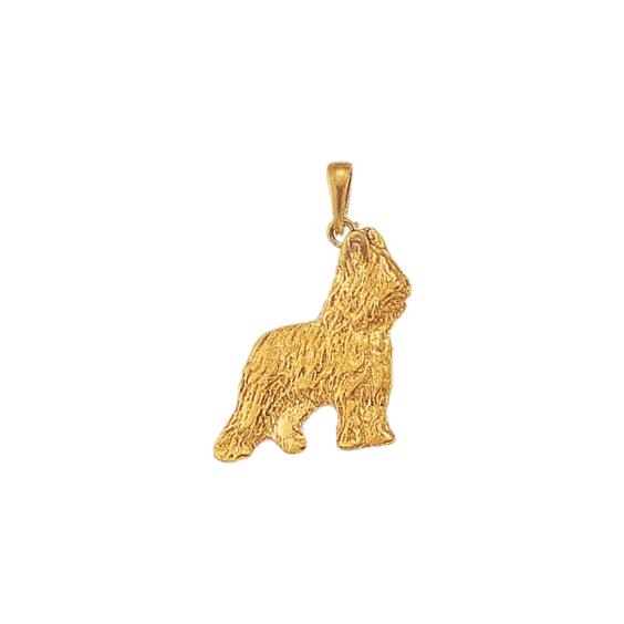 Pendentif chien Briard Or 9 carats jaune - 31 MM - La Petite Française