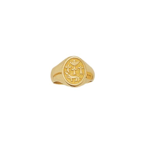 Chevalière hermine Or 9 carats jaune - 19 X 11 MM - La Petite Française