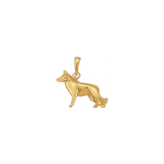 Pendentif chien berger Allemand Or 9 carats jaune - 20 MM - La Petite Française