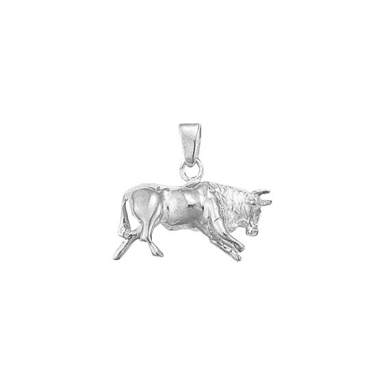 Pendentif taureau Or 9 carats gris- 23 MM - La Petite Française