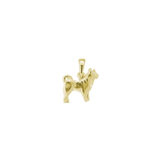 Pendentif chien Husky Or 9 carats jaune - 17 MM - La Petite Française