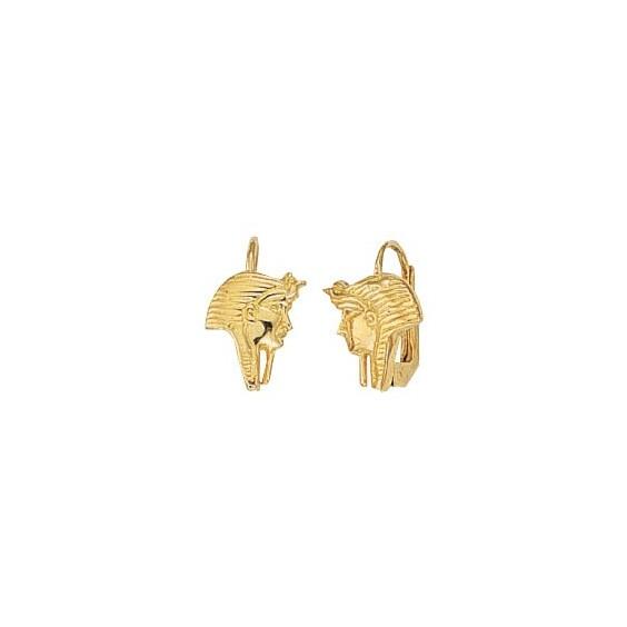 Boucles d'oreilles brisures masque pharaon Or 9 carats jaune - La Petite Française