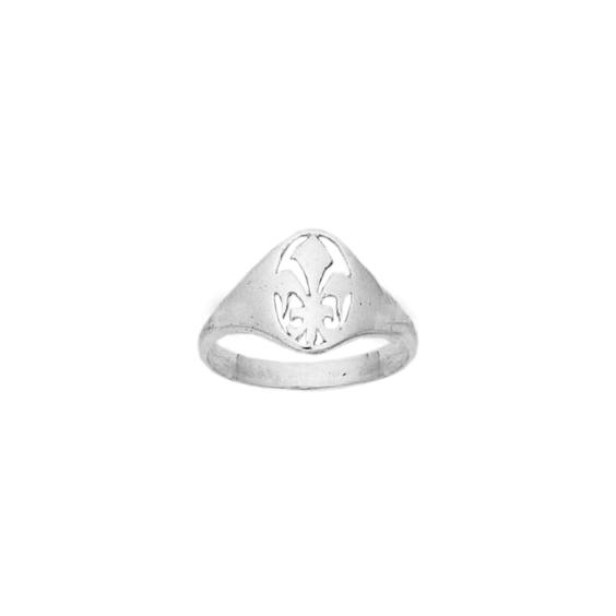 Bague fleur de Lys Or 9 carats gris - La Petite Française