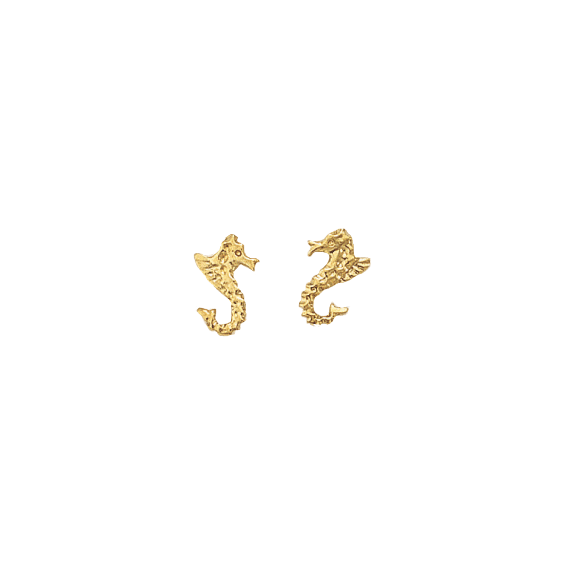 Boucles d'oreilles Hippocampe Or 9 carats jaune - La Petite Française