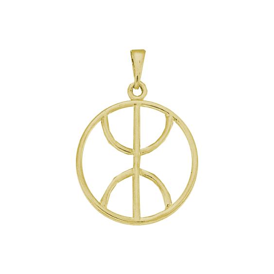 Pendentif Berbère cercle Or 9 carats jaune - 43 MM - La Petite Française