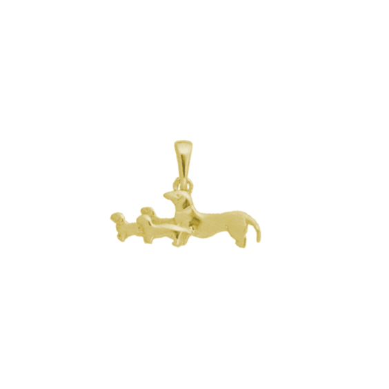 Pendentif 4 chiens Teckels Or 9 carats jaune - 18 MM - La Petite Française