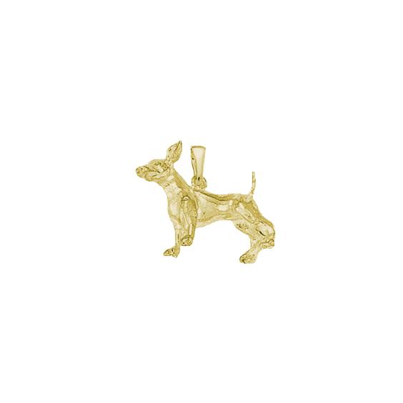 Pendentif chien Chihuahua Or 9 carats jaune - 20 MM - La Petite Française