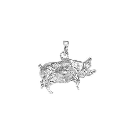 Pendentif cochon Or 9 carats gris - La Petite Française