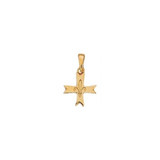 Croix fleur de Lys Or 9 carats jaune - 13 MM - La Petite Française