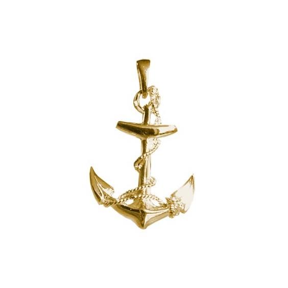 Pendentif ancre marine GM Or 9 carats jaune - 33 MM - La Petite Française