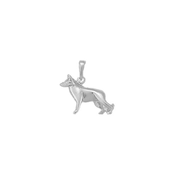 Pendentif chien berger Allemand Or 9 carats gris - 20 MM - La Petite Française