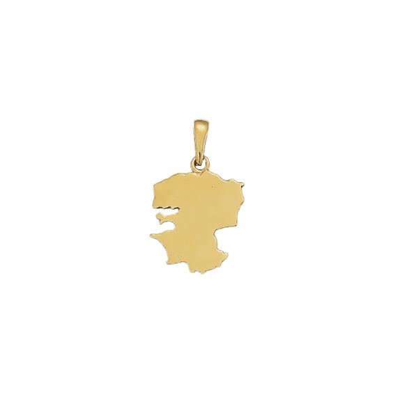 Pendentif carte Finistère Or 9 carats jaune- 26 MM - La Petite Française
