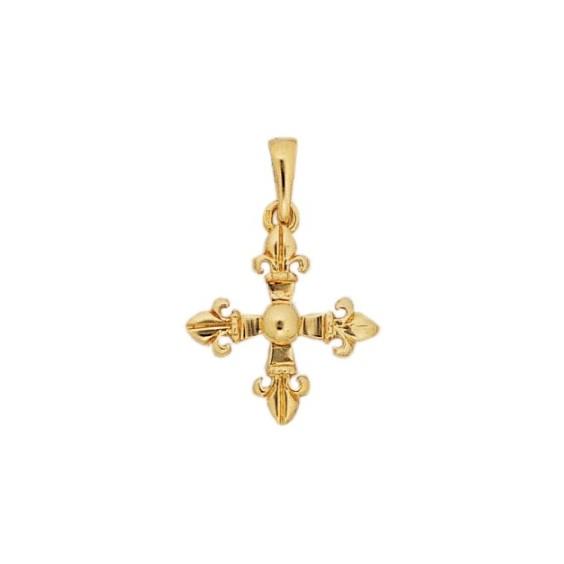 Croix fleur de Lys Or 9 carats jaune - 19 MM - La Petite Française