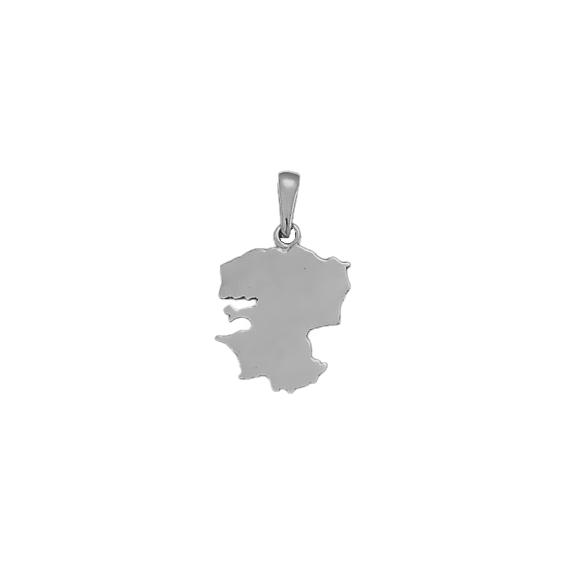 Pendentif carte Finistère Or 9 carats gris - 26 MM - La Petite Française