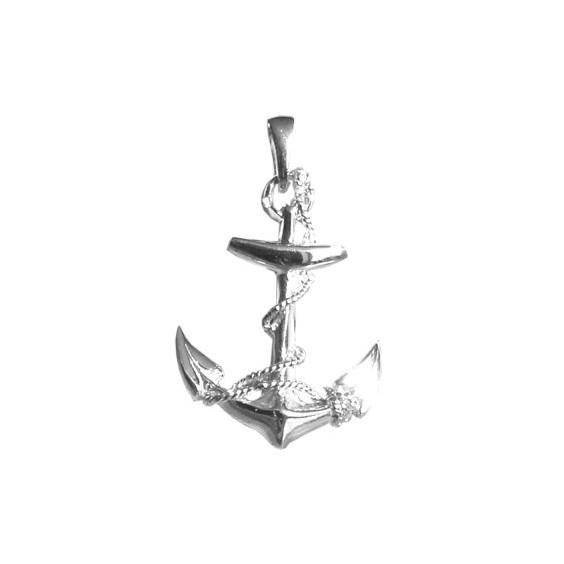 Pendentif ancre marine GM Or 18 carats gris - 33 MM - La Petite Française